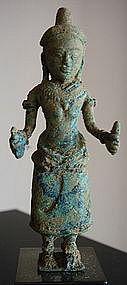 Rare Khmer Post Bayon/Angkor Wat Bronze Goddess UMA, 12/13th Century
