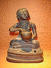 19th C. Bronze Disciple / Monk holding alms bowl, Burma
