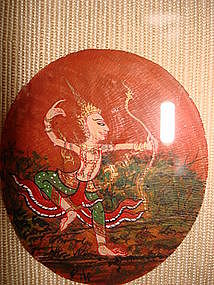 Framed Miniature Thai Painting on Mother-of-Pearl