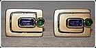 Stunning Sapphire and Emerald 18K. Gold Cuff links
