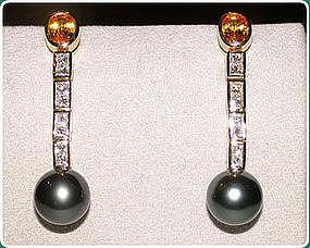 Tahiti Black Pearl, Diamond & Yellow Sapphire Earrings