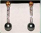 Tahiti Black Pearl, Diamond & Yellow Sapphire Earrings