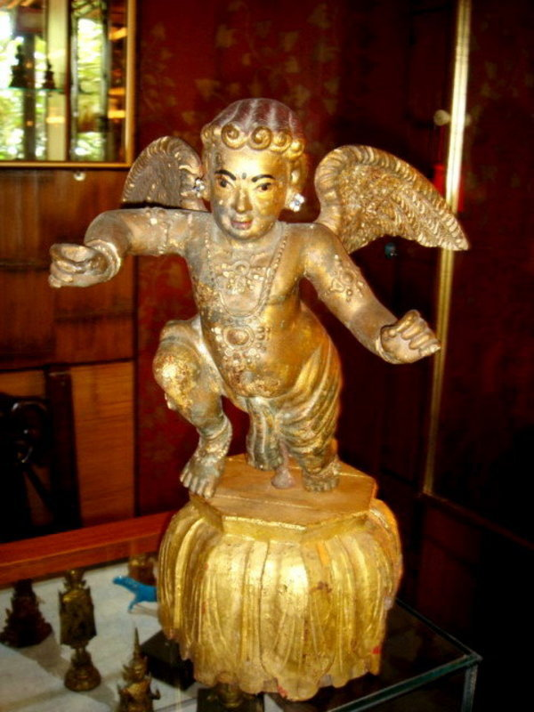 Rare Baroque Gilded Wooden Angel with base