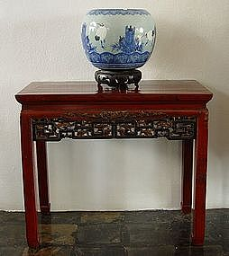 Exquisite Antique Hibachi with Pine and Crane Motif