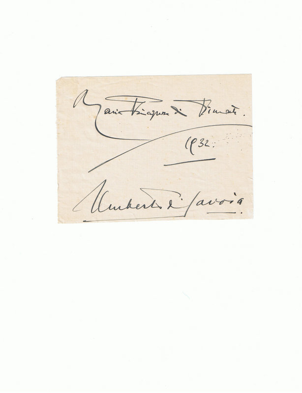 Signatures of Umberto di Savoia and his wife, 1932