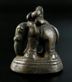 Lanna or Laos Elephant Opium Weight with Mahout