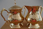Polished Brass Cream and Sugar Tea Set