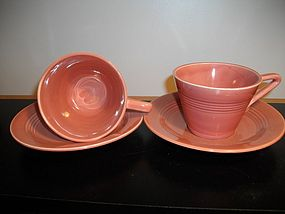 Homer Laughlin Harlequin Rose Cups and Saucers