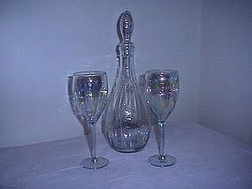 Irridescent Wine Decanter and Glasses