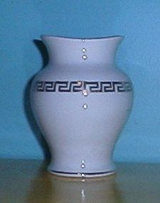 Homer Laughlin White Vase Gold Greek Key Design