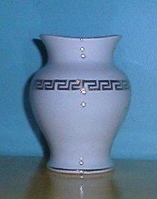 Homer Laughlin White Vase Gold Greek Key Design