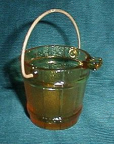 Amber Glass Bucket Ashtray