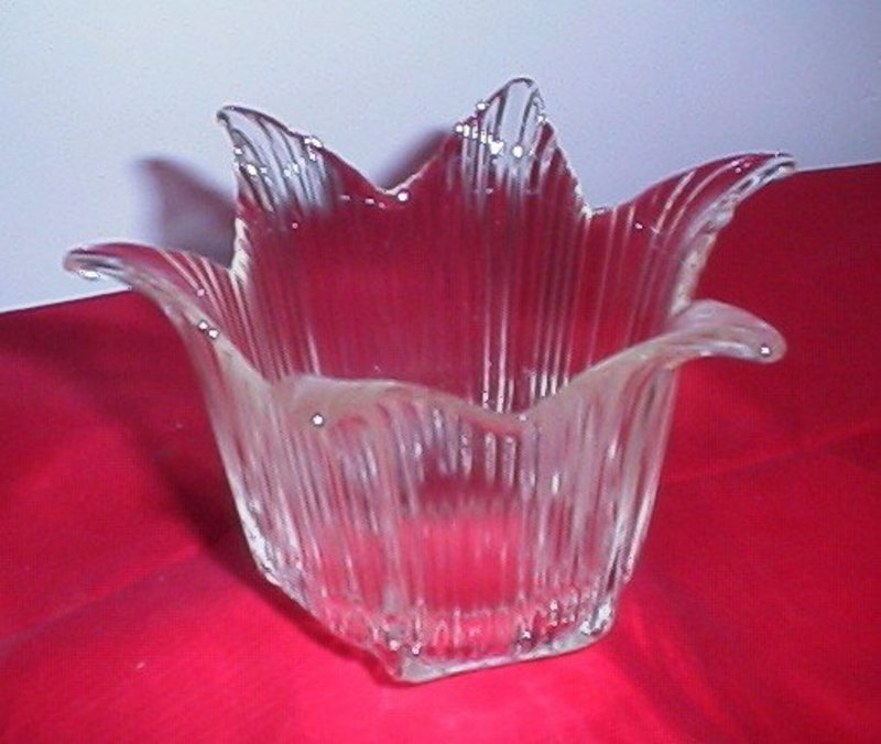 Six Point Ribbed Glass Vase