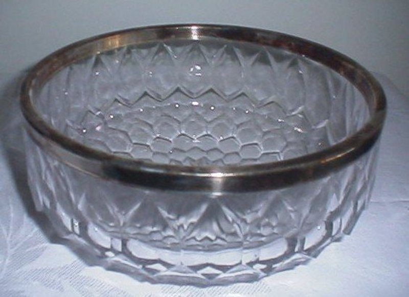 Crystal Bowl w/Silverplate Rim ASCI Germany