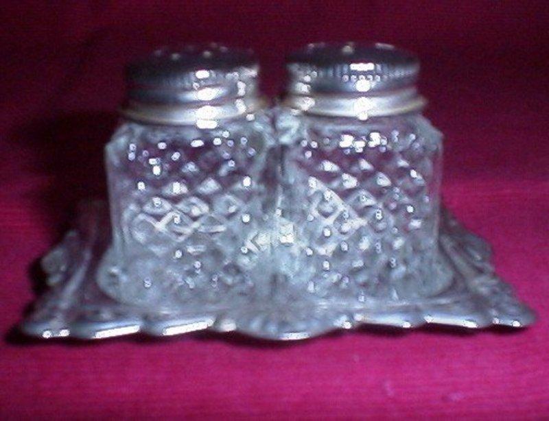 Glass and Silver Plate Miniature Salt & Pepper Set