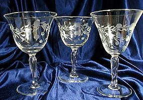 Pioneer Japan Willow Moon Crystal Stemware