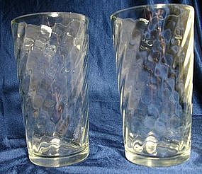 Vintage Spiral Pattern Glass Tumblers
