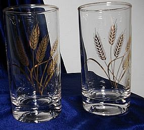 Anchor Hocking Gold Wheat Glass Tumblers