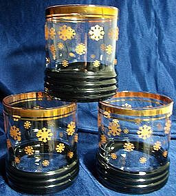 Old Fashioned/High Ball Glasses Gold Snowflakes
