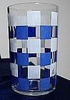 Blue Check Juice Glass