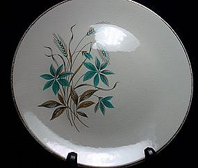 Royal USA Teal and Brown Floral with Wheat Dinnerware