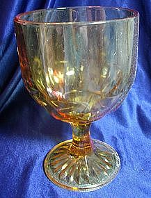 Amber Pattern Glass Goblet