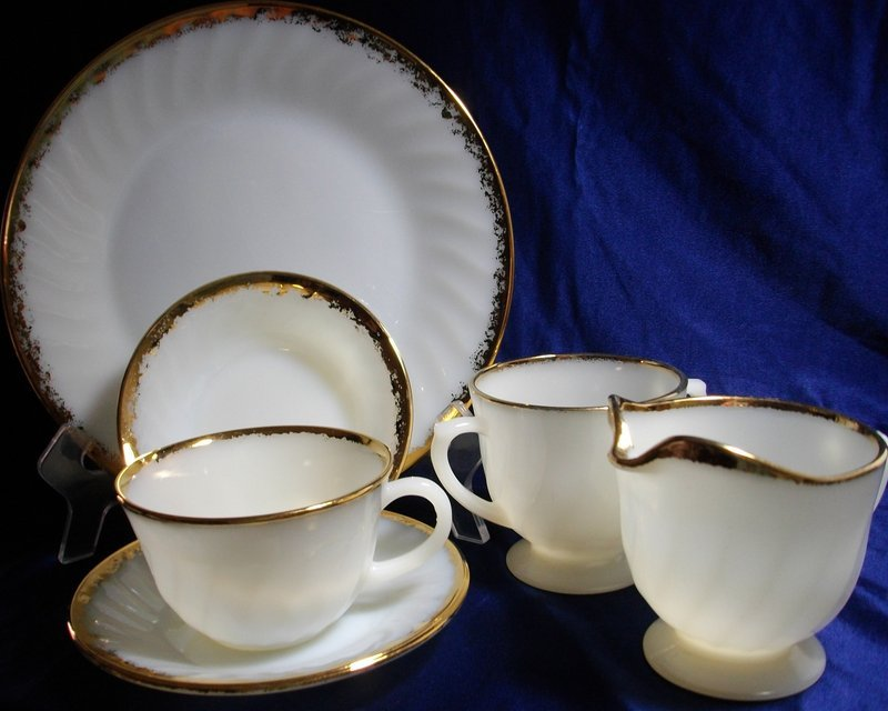 Fire King Gold Swirl Dinnerware