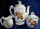 Ceramic Gold Cherub Teapot Set