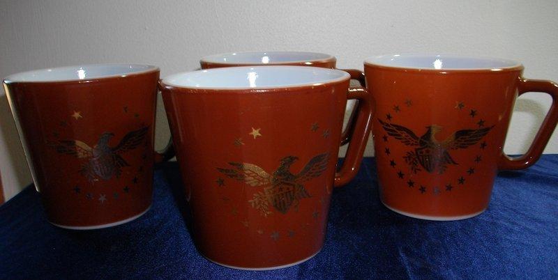 Pyrex American Gold Eagle Coffee Mugs