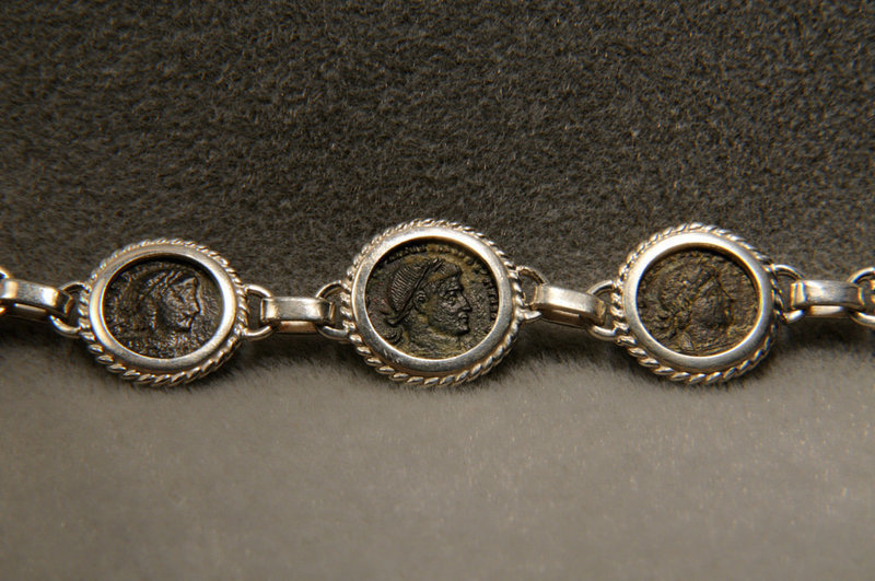 Ancient Roman Bronze Coins Of Constantine/ Bracelet