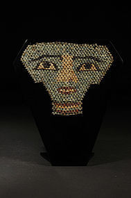 Ancient Egyptian faience beaded mummy mask, 600 BC