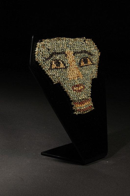 Ancient Egyptian faience beaded mummy mask, 600 BC