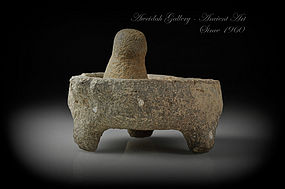 Ancient Roman basalt mortar and pestle, 100 - 300 AD