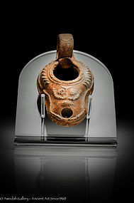 Rare Roman Beit Natif highly decorated oil lamp,400 AD