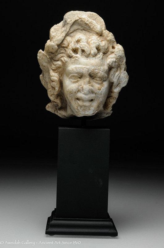 Roman Marble head of Satyr, 1st Century AD