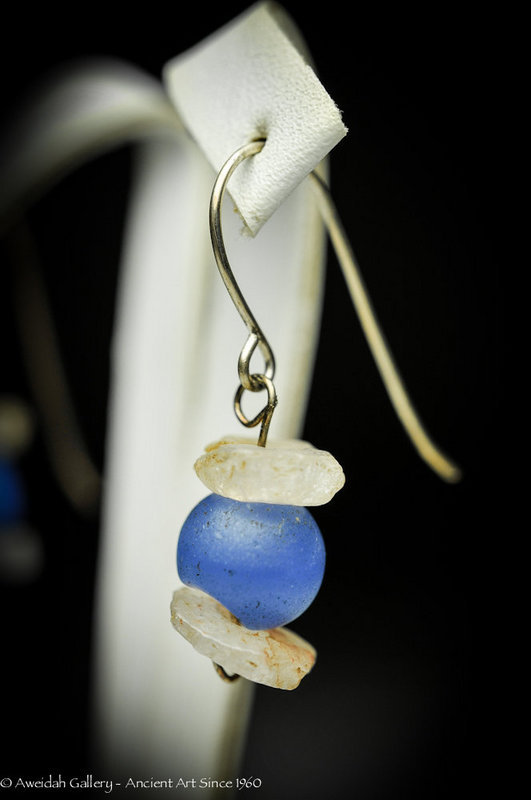 Ancient Roman Rock-crystal Beads Earrings, 100 - 200 AD