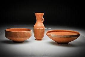 RARE-Nabatean reddish pottery wine vessels,100 BC-100AD