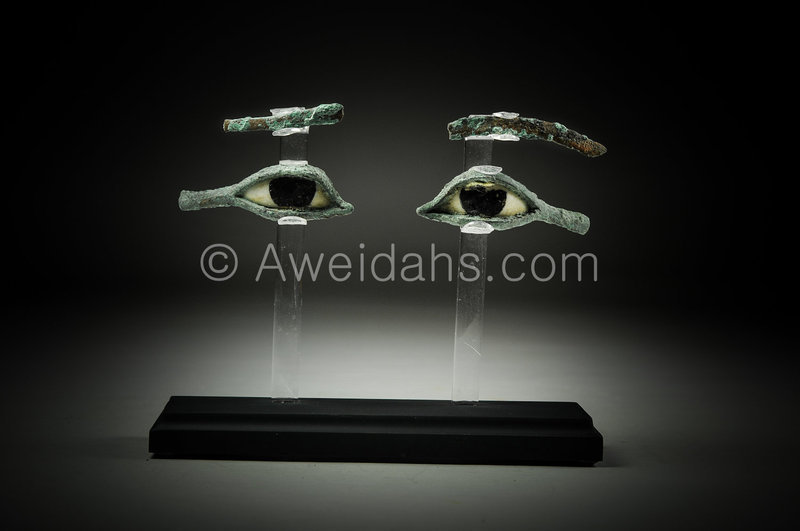 A Pair of Egyptian Bronze and alabaster Eyes & Eyebrows