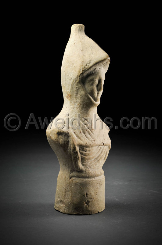 Roman Imperial pottery figure of a warrior wearing a helmet, 100 AD