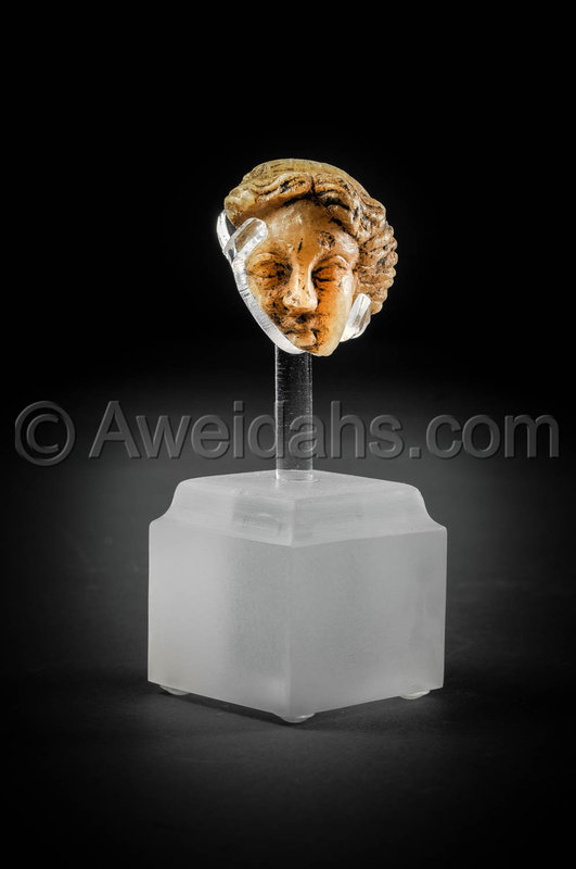 Roman alabaster fragmentary head of a female, 100 - 200 A.D