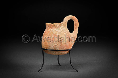 Chalcholithic Age pottery jar with a looped handle, 3500 BC