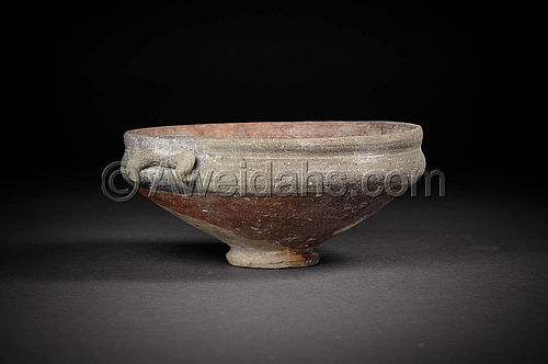 Greek- Hellenistic painted pottery shallow bowl, 300 - 100 BC