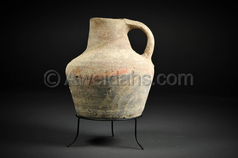 Ancient Byzantine painted pottery wine pitcher, 4th - 5th Cent. AD