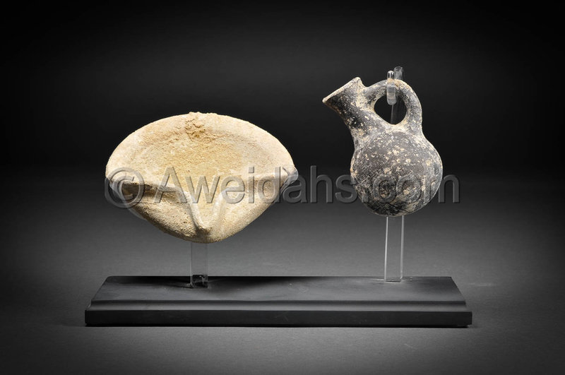 "Biblical Iron Age pottery set ""Oil Lamp and filler"" 1000 BC"
