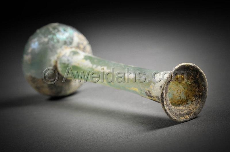 Ancient Roman glass perfume bottle, 100 - 300 AD