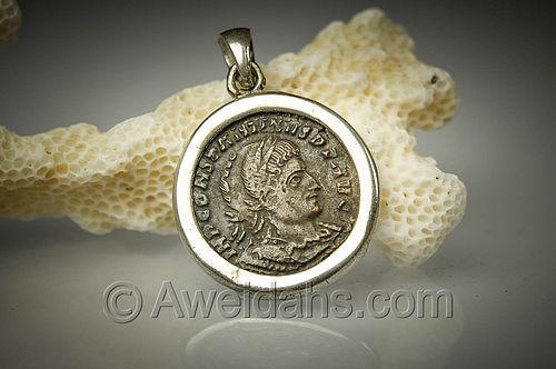 Biblical Roman bronze coin pendant of Emperor Constantine the Great