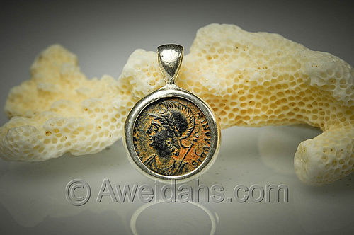 Roman bronze coin pendant of Emperor Constantinopolis, 3rd Cent. AD