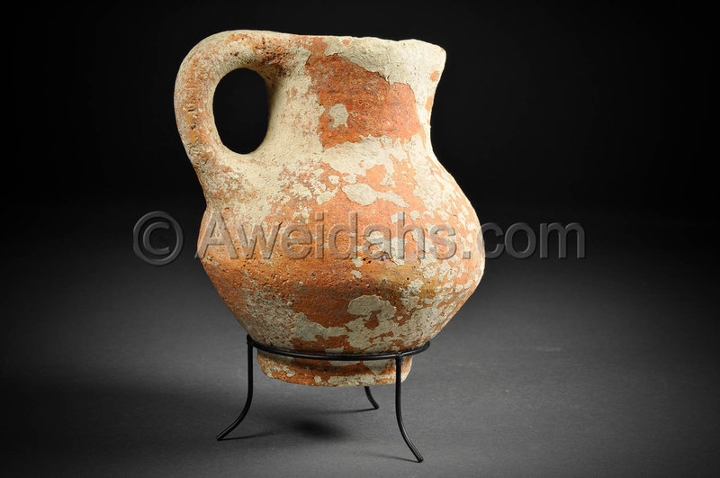 Biblical Iron Age pottery wine pitcher, 1000 BC