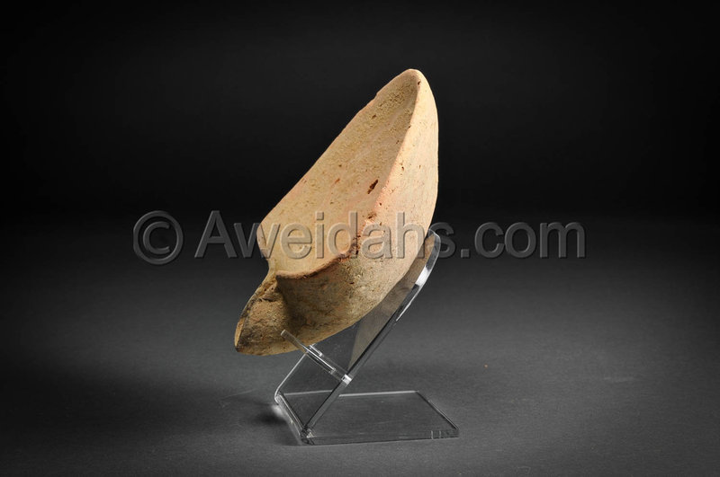 Biblical Iron Age pottery saucer oil lamp, 1000 BC