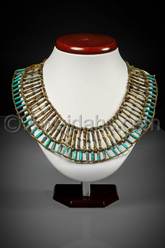 "WEARABLE AUTHENTIC ANCIENT FAIENCE EGYPTIAN ""MUMMY BEADS"" NECKLACE"